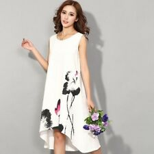 New Fashion Style Flower Print Sleeveless Comfortable Casual Dress For Women