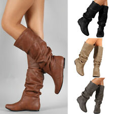 Hot Women Low Flat Heel Mid-Calf Knee High Slouch Riding Boot Shoes Size 5 - 9.5