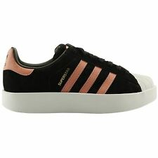 Adidas Superstar Bold Core Black Ash Pink Womens Suede Low-top Sneakers Trainers