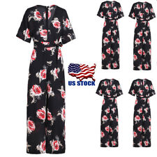 Women's V Neck Short Sleeve Floral Long Loose Rompers Casual Jumpsuits Pants USA