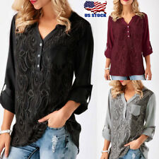 USA Women's Lace Long Sleeve T-Shirt Sexy V Neck Loose Casual Summer Blouse Tops