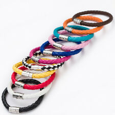 Real Leather Braided Wristband Bracelet Stainless Steel Clasp
