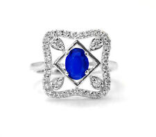 Blue Sapphire Natural Gemstone with 925 Sterling Silver Ring Oval Anniversary