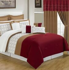 24 Piece Room Bed In A Bag Comforter Curtains Sheet Euro Sham King Pillows Queen