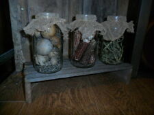 Primitive Early Look Riser - Set of (3) Pantry Jars w/ Dried Goods Gathering