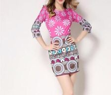 Women Fashion Vintage Printed Pinup Casual Party Bodycon Dress PN667