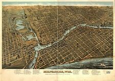 Poster Print Antique American Cities Towns States Map Milwaukee Wisconsin