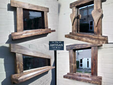 Rustic Reclaimed Solid Wood Mirrors  - Farmhouse/Cottage Mirror Driftwood Hearts
