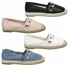 Charis Womens Flats Low Heels Slip On Espadrilles Loafers Ladies Shoes Style New