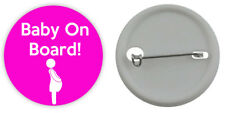 BABY ON BOARD BADGE Pregnant Mum Girl Pink Button 3 Sizes Pinback Lapel Pin gift