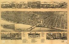 Poster Print Antique American Cities Towns States Map Racine Wisconsin