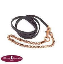 """Windsor Equestrian 1/2"""" Leather In Hand Lead And Brass Chain – Black or Havana"""