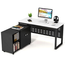 """Computer Desk with File Storage Cabinet, Tribesigns 55"""" Large Modern Office Desk"""