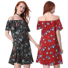 Women Summer Bohemia Sexy Off Shoulder Strapless Dress Floral Pleated MINI Dress