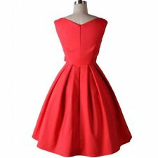 Women Dress Pinup Vintage Sleeveless Red Black Color Pleated Party Dress