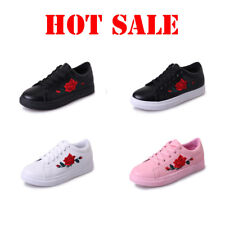 Women's Fashion Leather Rose Flower Casual Lace Up Sneakers Trainer Shoes Hot