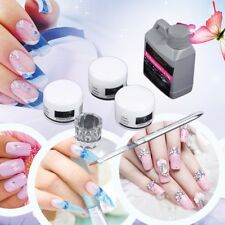 Chic Portable Nail Art Tool Kit Set Crystal Powder Acrylic Liquid Dappen Dish EI