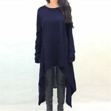 Women Dark Blue Color O-Neck Long Sleeve Mid-Calf Length Sweater Dress Plus Size