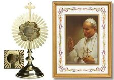 CATHOLIC 24k gold plate MONSTRANCE with LUNA RELIQUARY and ST JOHN PAUL PRINT