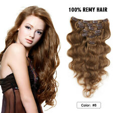 100% Real Clip In Remy Human Hair Extensions Full Head Body Wave 70g/Set 7pcs