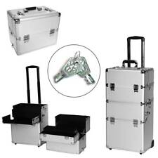 3-in-1 Aluminum Rolling Makeup Cosmetic Train Case Wheeled Box Silver Z