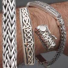 CELTIC ARTISAN BRAIDED TRIBAL MENS BRACELET 925 STERLING SILVER 8 8.5 9 9.5 10""