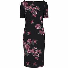 40s BLACK FLORAL BODYCON WIGGLE PENCIL VINTAGE PROM PARTY COCKTAIL UK DRESS 8-18