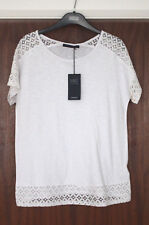 M&S Collection Size 12 Cotton Rich Short Sleeve Top with Lace Trim Bnwt White