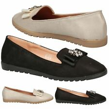 Mirte Ladies Ballerina Jewel Brooch Ribbon Shimmer Fashion Slip On Loafers Flats