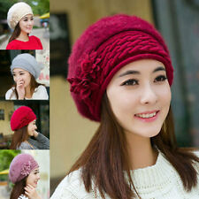 Winter Hat Warm Flower Beanie Women Crochet Wool Faux Rabbit Fur Ski Cap Beret