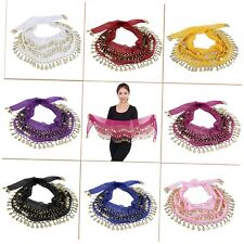 3 Rows 128 Gold Coins Belly Dance Costume Hip Scarf Skirt Belt Wrap Waist TM