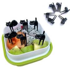 Baby Fork Gadgets 6 Pcs Cute Cartoon Dessert Fork Toothpick Cat Fruit Fork
