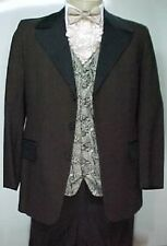 VINTAGE AFTER SIX  DARK BROWN WITH BLACK SATIN MENS TUXEDO JACKET or 4pc TUX