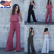 Women Sleeveless Strappy Wide Leg Long Pants Casual Jumpsuit Playsuit Rompers US