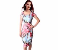 Pink Color Floral Printed Square Collar Knee Length Dress For Women