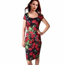 Red Black Color Floral Printed Square Collar Knee Length Dress For Women