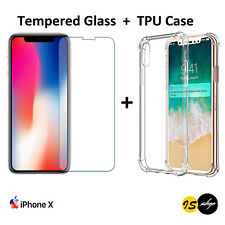 New TPU Soft Gel Case Cover + Tempered Glass Screen Protector For Apple iPhone X