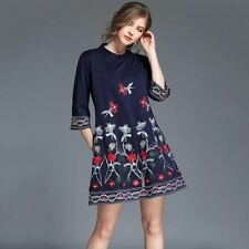 Women New Fashion Ethnic Style Embroidery Stand Collar Casual Loose Dress