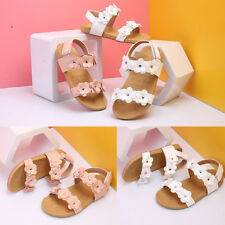 Kid's Girl's Ankle Strap Flower Beach Sandals Soft PU Leather Flat Casual Shoes