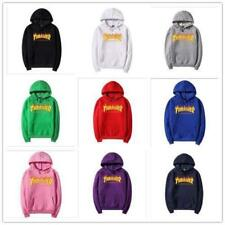 New Thrasher men and women with the flame fleece hoodies couple top clothing#