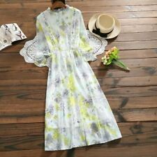 Women Chiffon Fabric Floral Printed Ruffled Patchwork Long Sleeve Mid-calf Dress