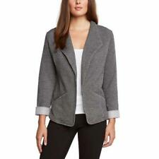 Matty M Womens Blazer Gray Grey Knit Suit Jacket Relaxed Fit