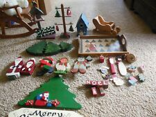 VINTAGE HANDMADE & HAND PAINTED WOOD CHRISTMAS SHELF SITTERS,  ORNAMENTS, SIGN
