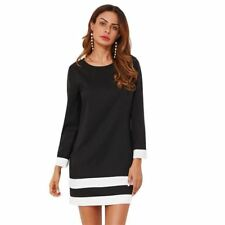 Women Striped Print Black Color Round Neck Long Sleeve Casual Tunic Dress