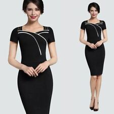 Women Floral Lace Pattern Short Sleeve Square Neck Knee-length Bodycon Dress