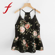 Feitong Women Crop Tops Summer Sexy Camisole Floral Peplum Rose Print V Neck