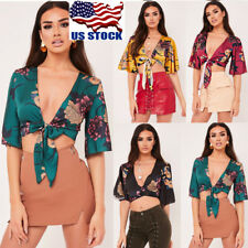 Womens Floral Wrap Short Sleeve Crop Top Casual V Neck Lace Up Blouse T-Shirt US