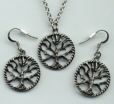 Tree of Life Necklace Earrings Jewelry Gift Set Pewter Pendant Charm Celtic USA