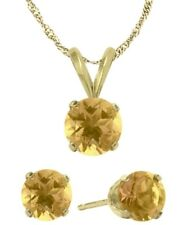 14K YG Genuine 1.20tcw. Citrine Solitaire Pendant and Earrings Set