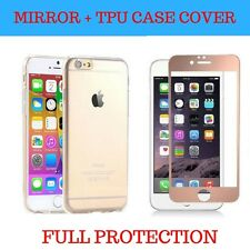 For iPhone Front Mirror Tempered Glass Screen Protector FULL Cover Silicone Case